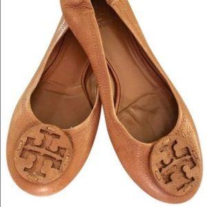 "Tory Burch ""Reva"" Flat - Brown Pebbled Leather (8)"